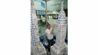 Guinness World Record Holder's New York Skyline Made of Cards on Display at Duesseldorf Airport (DUS)