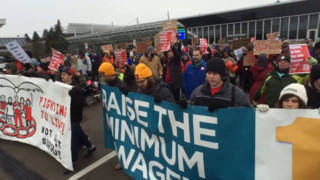 Airport Workers Briefly Shut Down Access To MSP During Wage Protest