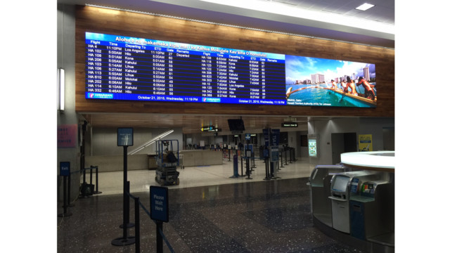 Image of the new LED Boards at Honolulu International Airport