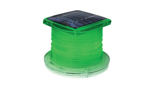 Solar powered self-contained LED aviation light