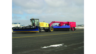 Tow Behind Broom with a Wausau Runway Snow Plow