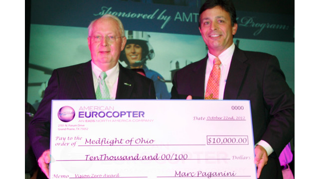 MedFlight of Ohio Wins American Eurocopter's 2012 Vision Zero Aviation Safety Award